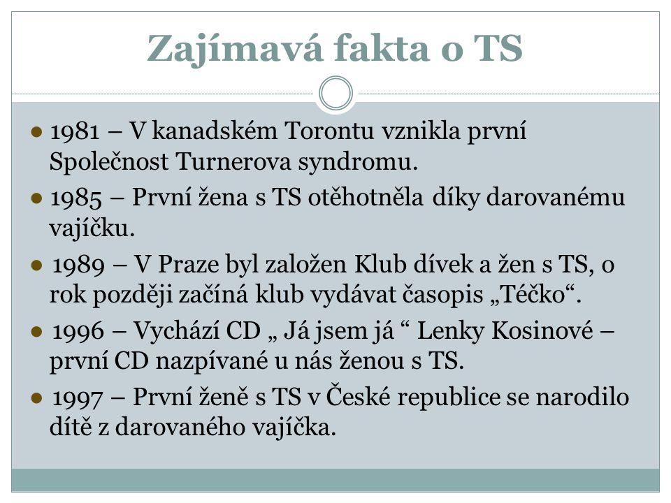 Zajímavá fakta o TS ● 1981 – V kanadském Torontu vznikla první Společnost Turnerova syndromu.