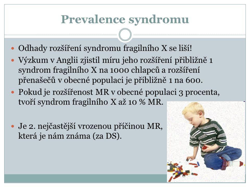 Prevalence syndromu Odhady rozšíření syndromu fragilního X se liší!