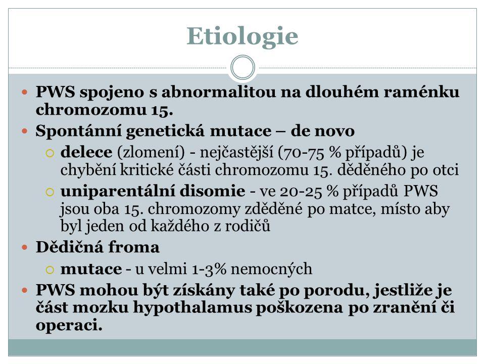 Etiologie PWS spojeno s abnormalitou na dlouhém raménku chromozomu 15.