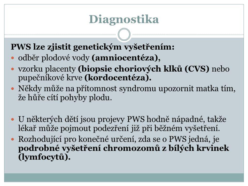 Diagnostika PWS lze zjistit genetickým vyšetřením: