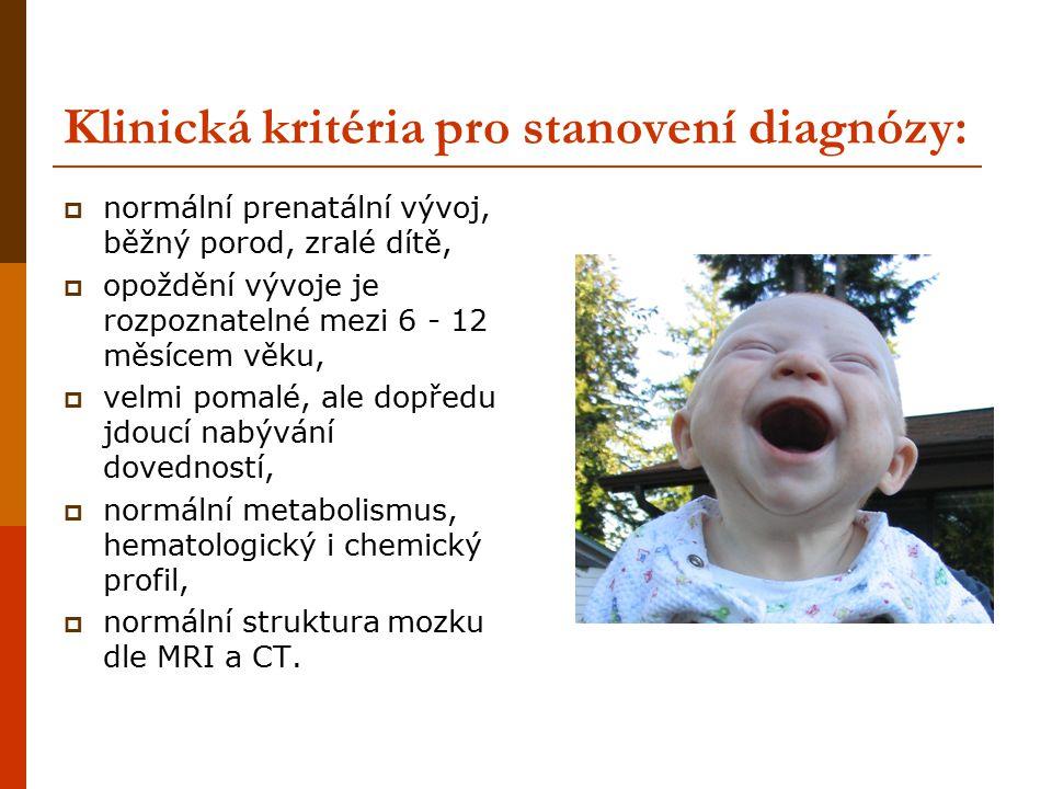 Klinická kritéria pro stanovení diagnózy: