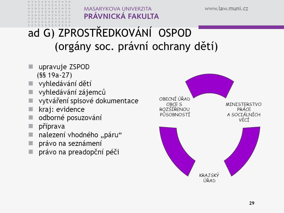 ad G) ZPROSTŘEDKOVÁNÍ OSPOD (orgány soc. právní ochrany dětí)