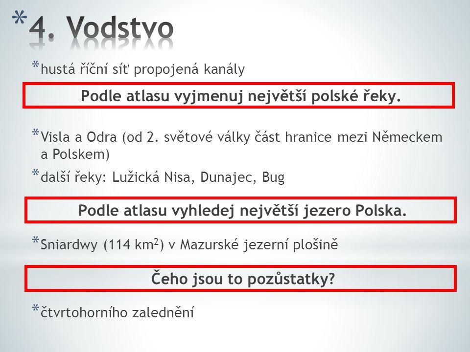 4. Vodstvo Podle atlasu vyjmenuj největší polské řeky.