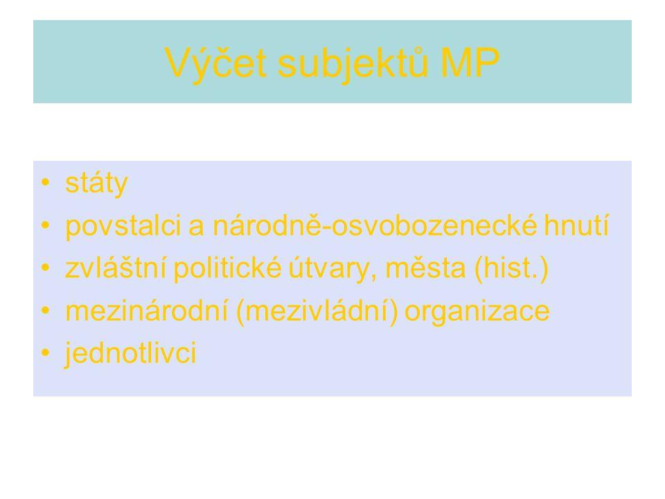 Výčet subjektů MP státy povstalci a národně-osvobozenecké hnutí
