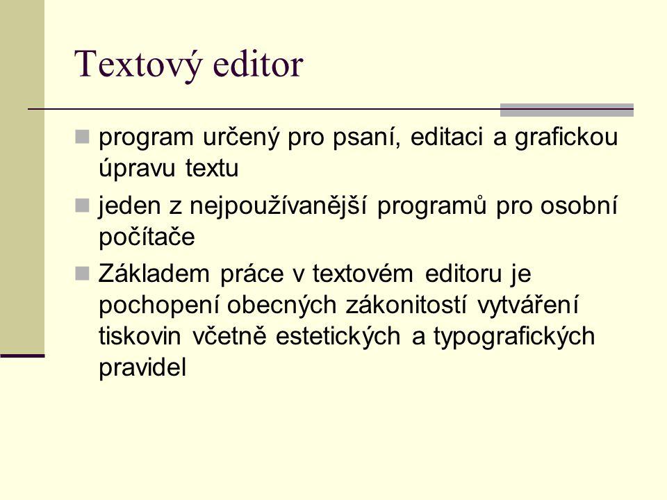 Textový editor program určený pro psaní, editaci a grafickou úpravu textu. jeden z nejpoužívanější programů pro osobní počítače.