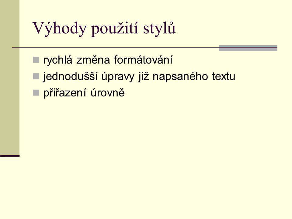 Výhody použití stylů rychlá změna formátování