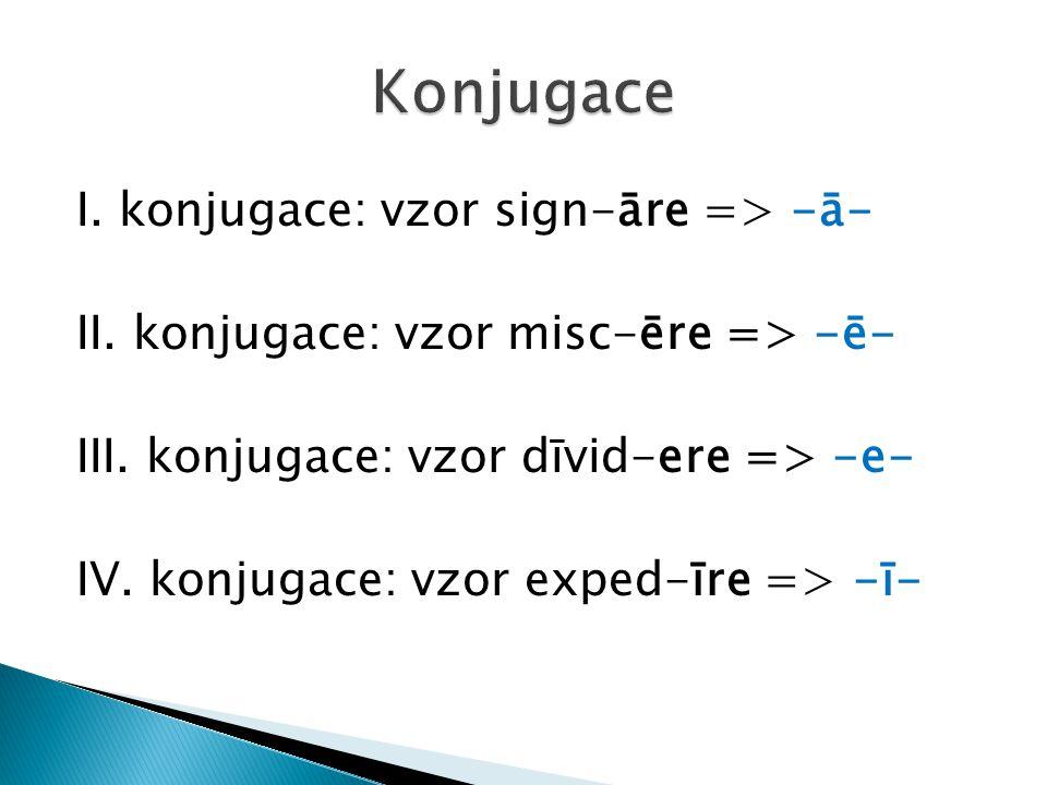 Konjugace I. konjugace: vzor sign-āre => -ā-