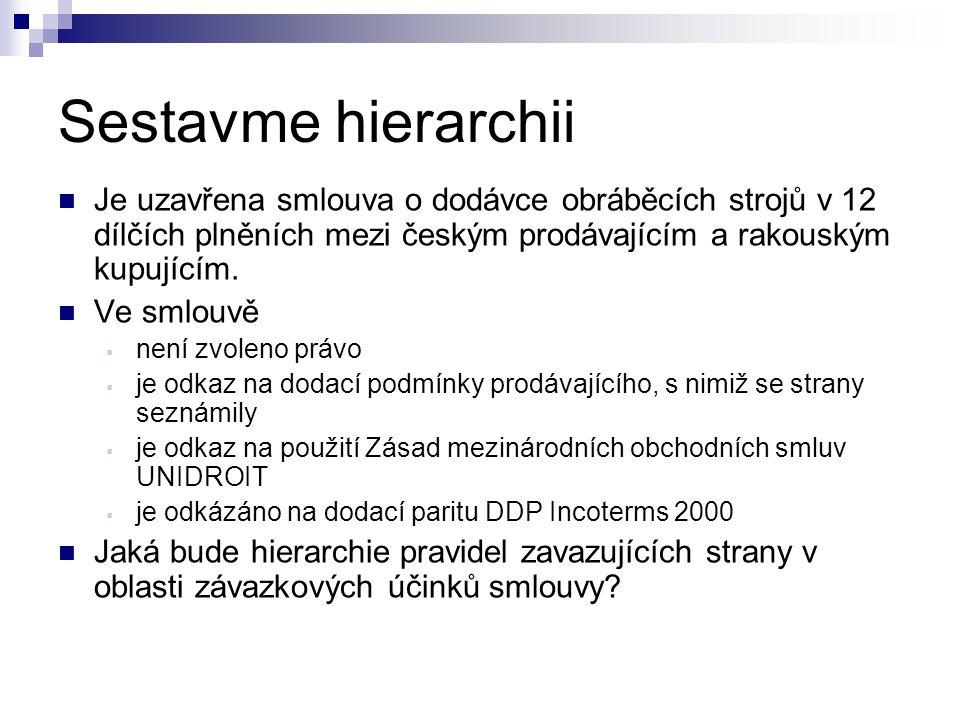 Sestavme hierarchii Je uzavřena smlouva o dodávce obráběcích strojů v 12 dílčích plněních mezi českým prodávajícím a rakouským kupujícím.