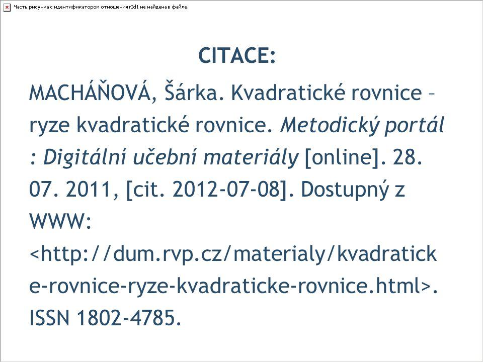 CITACE: MACHÁŇOVÁ, Šárka