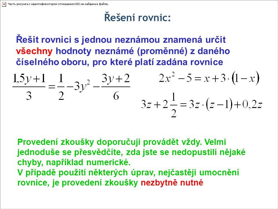 Řešení rovnic: