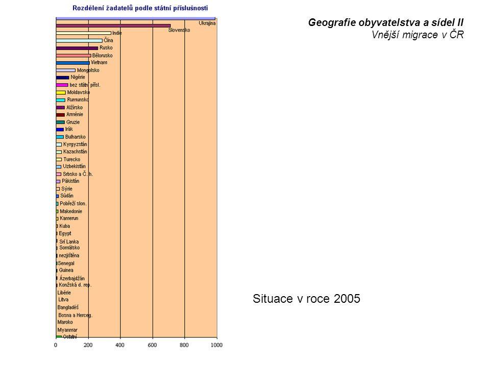 Situace v roce 2005 Geografie obyvatelstva a sídel II