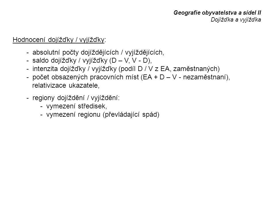 Hodnocení dojížďky / vyjížďky:
