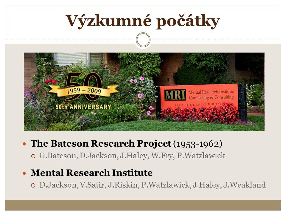 Výzkumné počátky The Bateson Research Project (1953-1962)