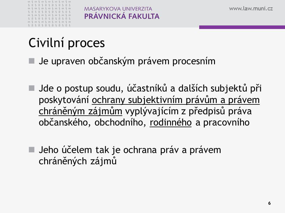 Civilní proces Je upraven občanským právem procesním