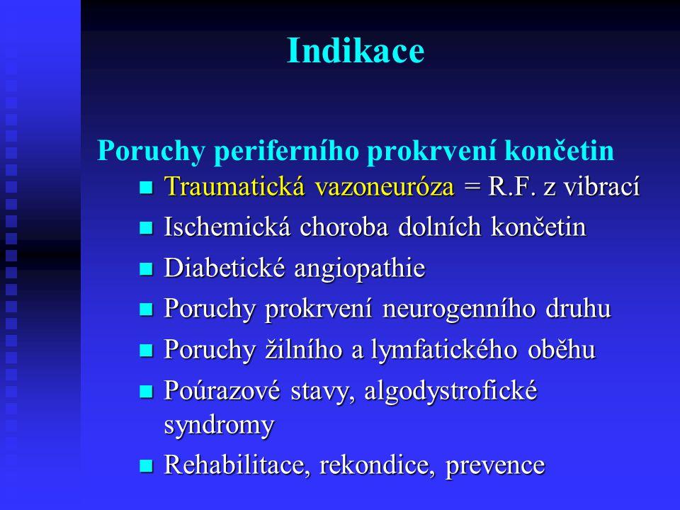 Indikace Poruchy periferního prokrvení končetin