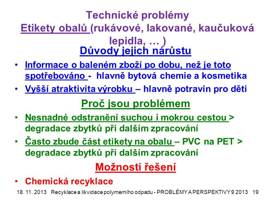 Technické problémy Etikety obalů (rukávové, lakované, kaučuková lepidla, … )