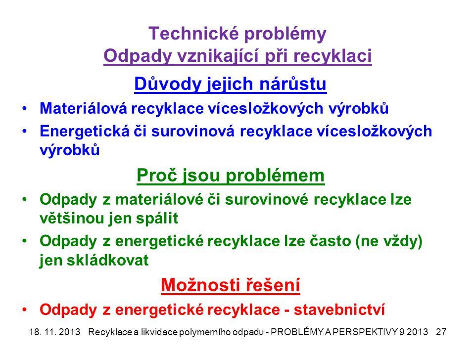 Technické problémy Odpady vznikající při recyklaci