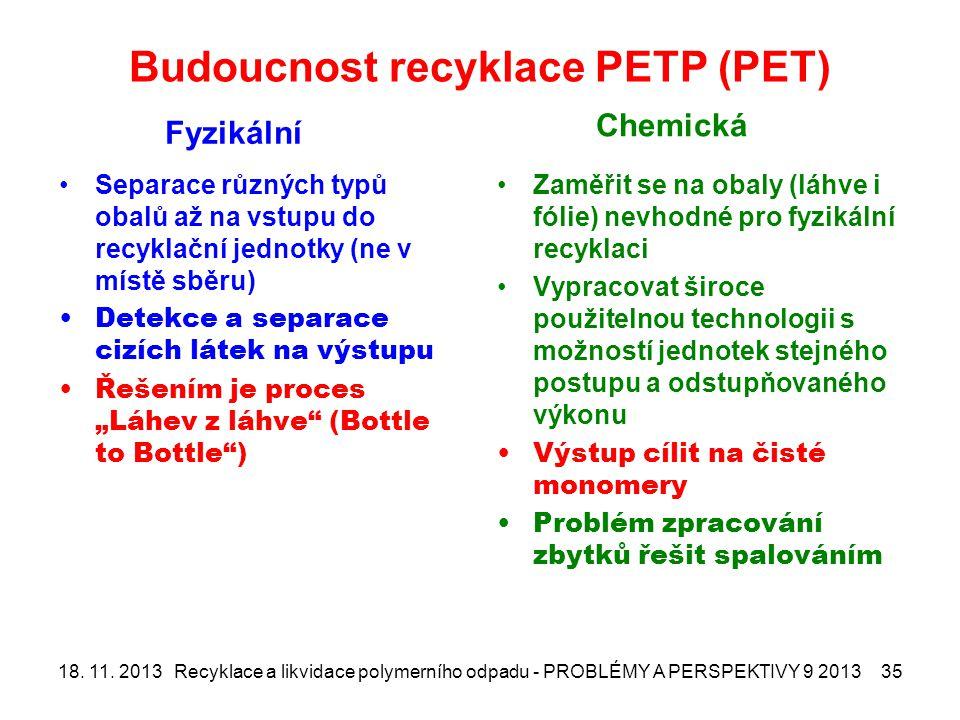 Budoucnost recyklace PETP (PET)