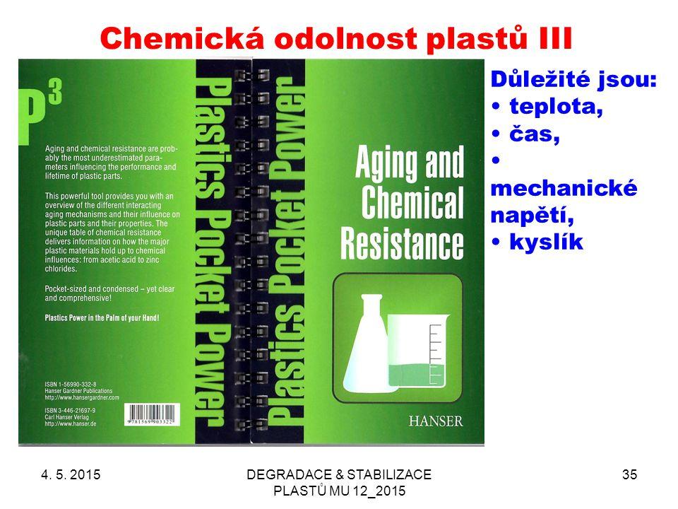 Chemická odolnost plastů III
