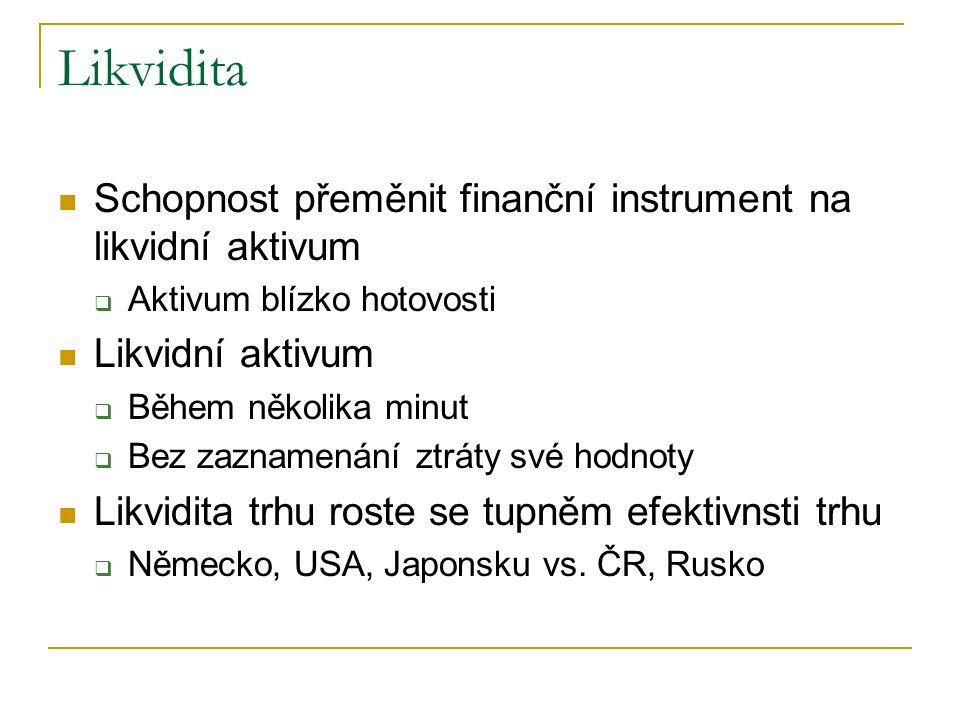 Likvidita Schopnost přeměnit finanční instrument na likvidní aktivum
