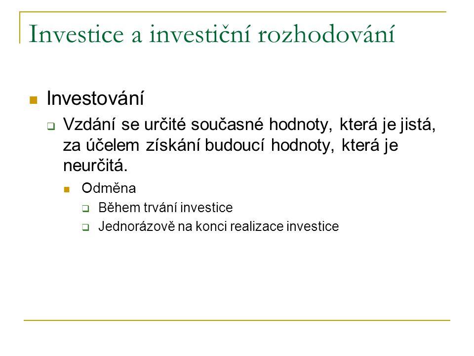 Investice a investiční rozhodování