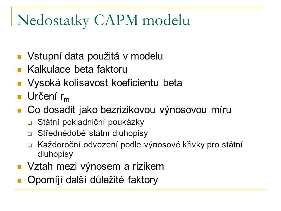 Nedostatky CAPM modelu