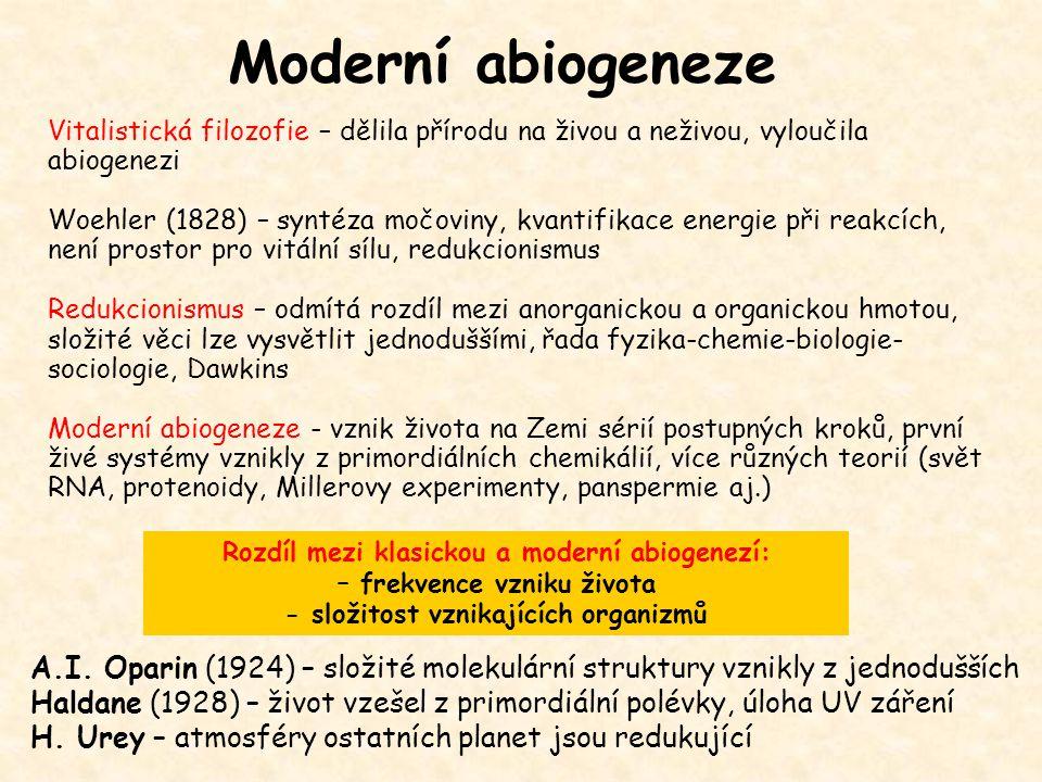 Moderní abiogeneze Vitalistická filozofie – dělila přírodu na živou a neživou, vyloučila abiogenezi.