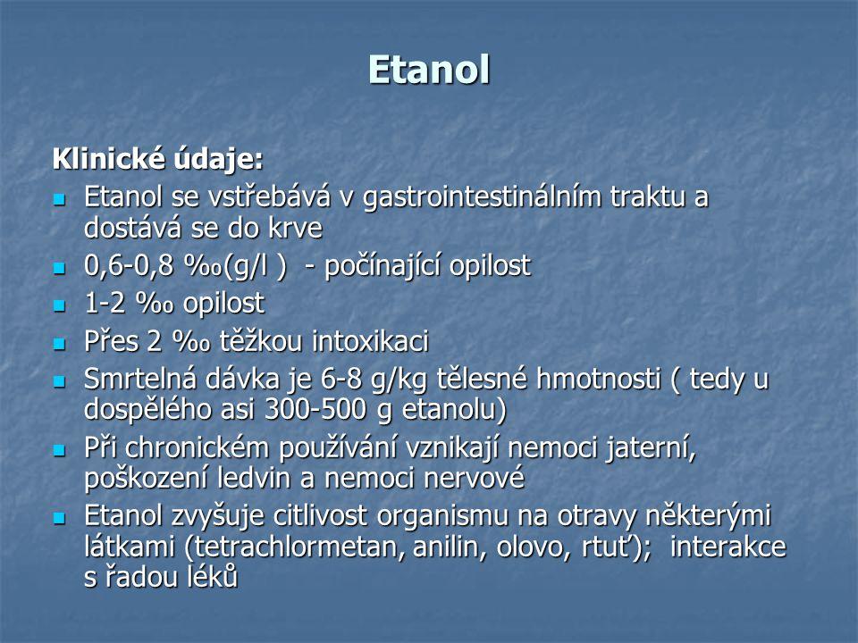 Etanol Klinické údaje: