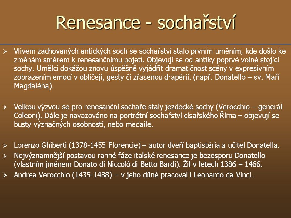 Renesance - sochařství