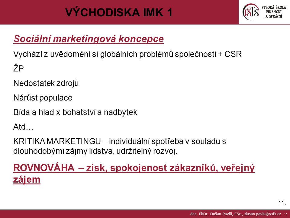 VÝCHODISKA IMK 1 Sociální marketingová koncepce