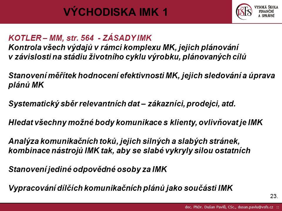 VÝCHODISKA IMK 1 KOTLER – MM, str. 564 - ZÁSADY IMK