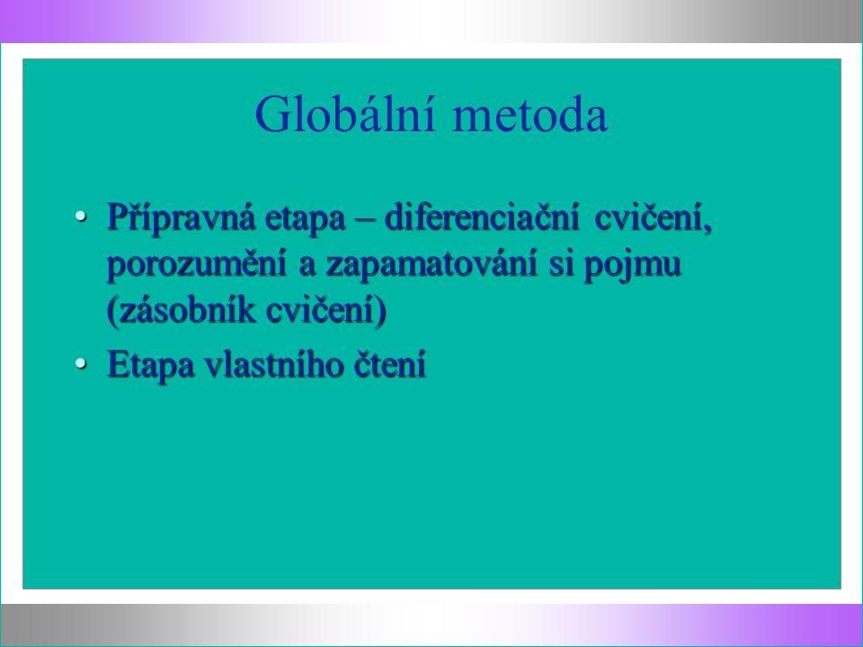 Globální metoda Přípravná etapa – diferenciační cvičení, porozumění a zapamatování si pojmu (zásobník cvičení)