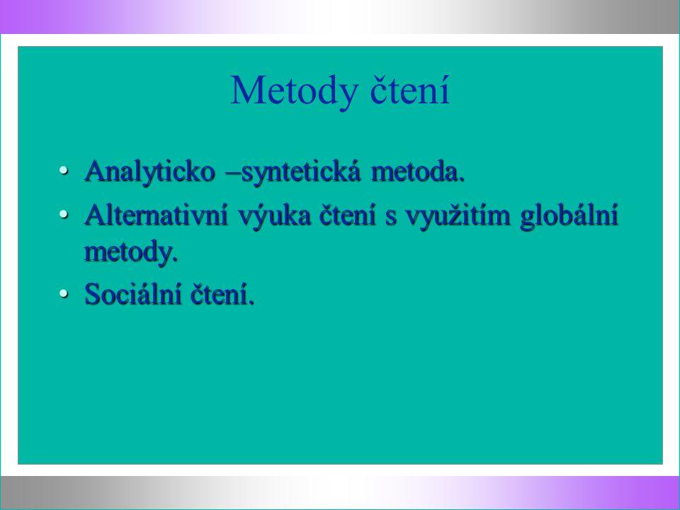 Metody čtení Analyticko –syntetická metoda.