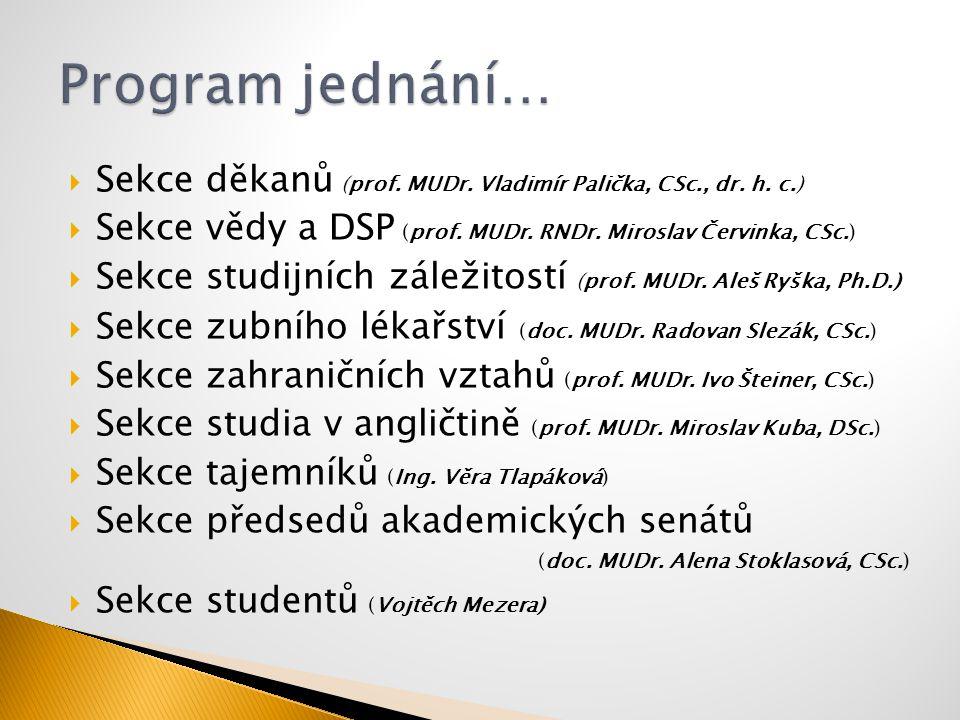 Program jednání… Sekce děkanů (prof. MUDr. Vladimír Palička, CSc., dr. h. c.) Sekce vědy a DSP (prof. MUDr. RNDr. Miroslav Červinka, CSc.)