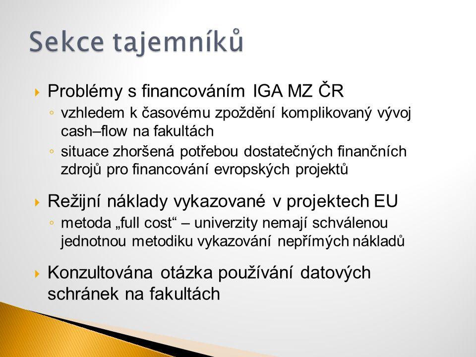 Sekce tajemníků Problémy s financováním IGA MZ ČR