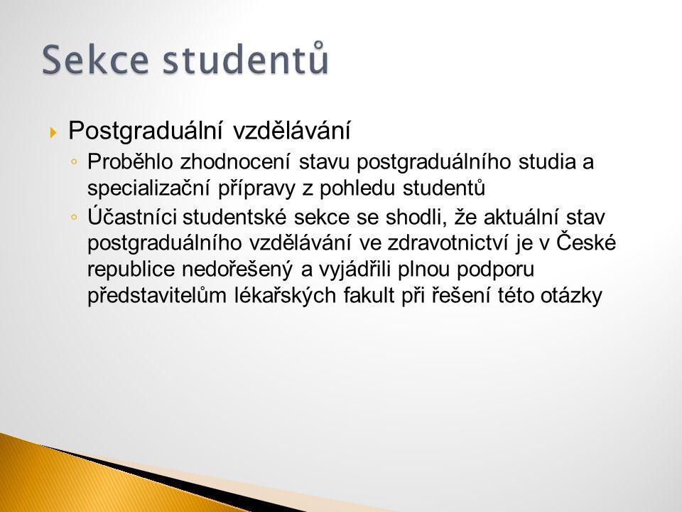 Sekce studentů Postgraduální vzdělávání