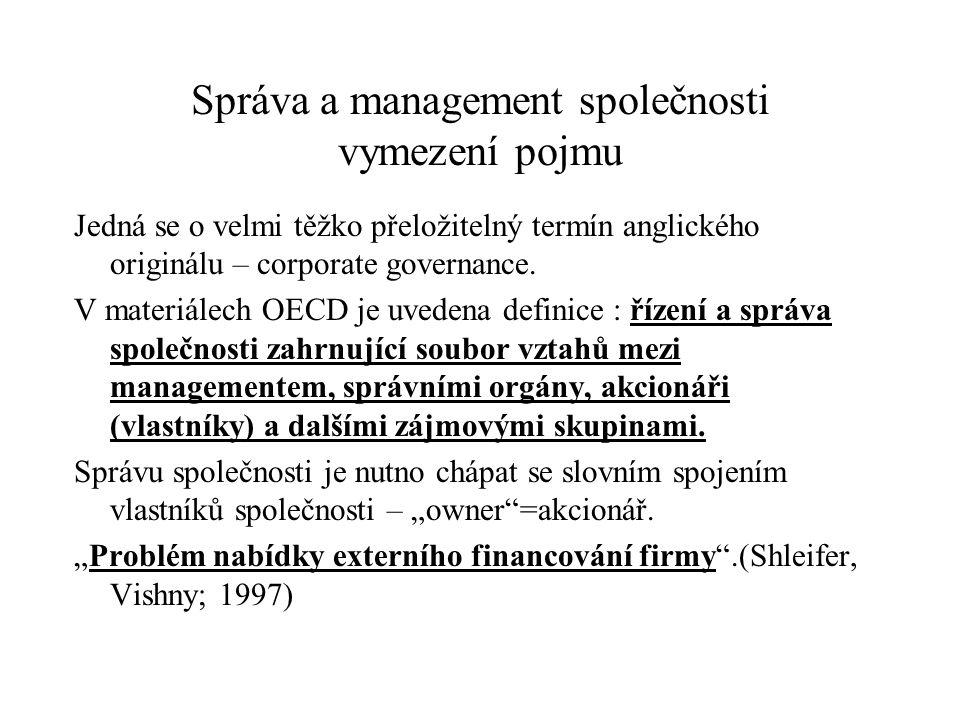 Správa a management společnosti vymezení pojmu