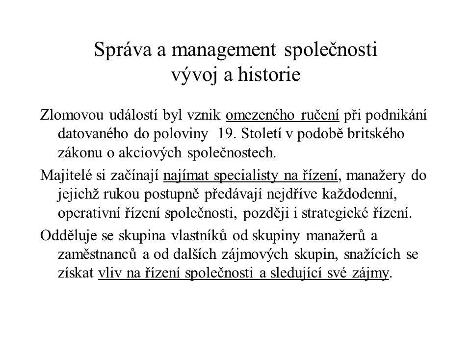Správa a management společnosti vývoj a historie
