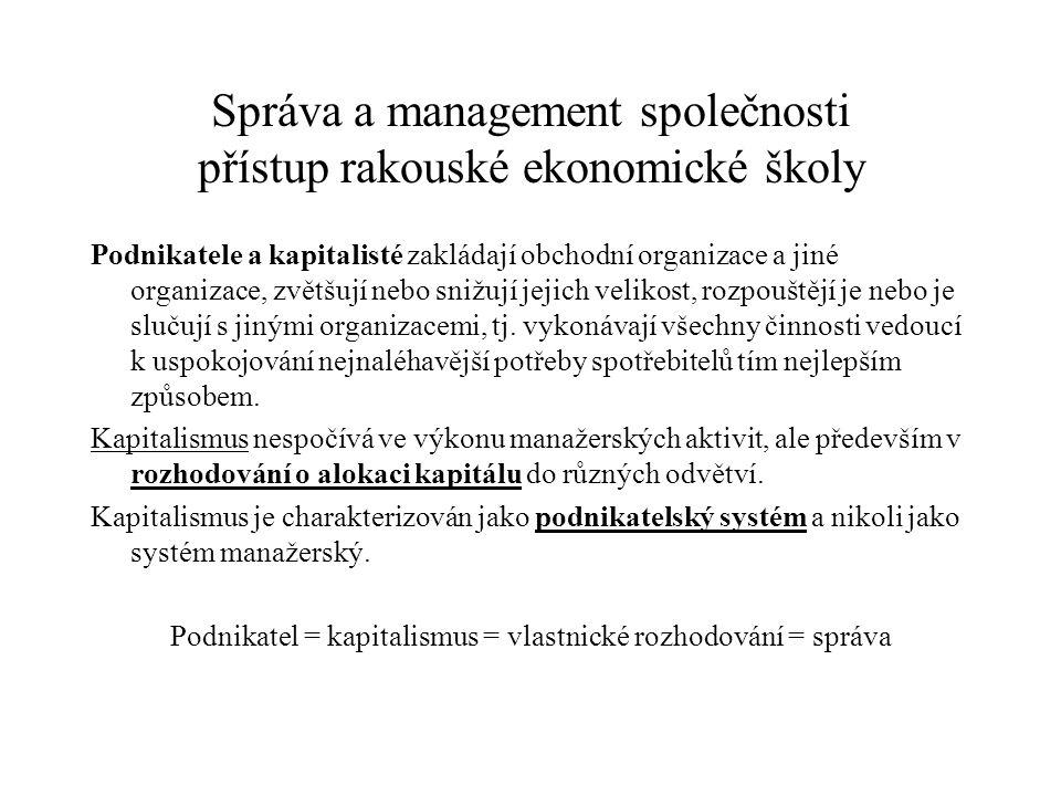 Správa a management společnosti přístup rakouské ekonomické školy
