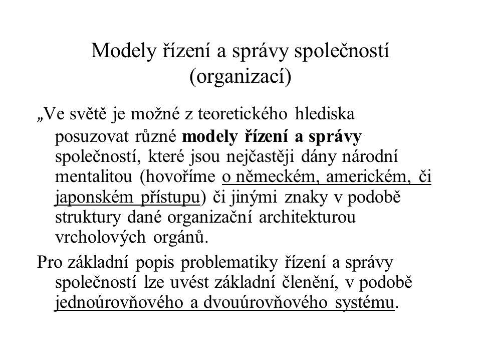 Modely řízení a správy společností (organizací)
