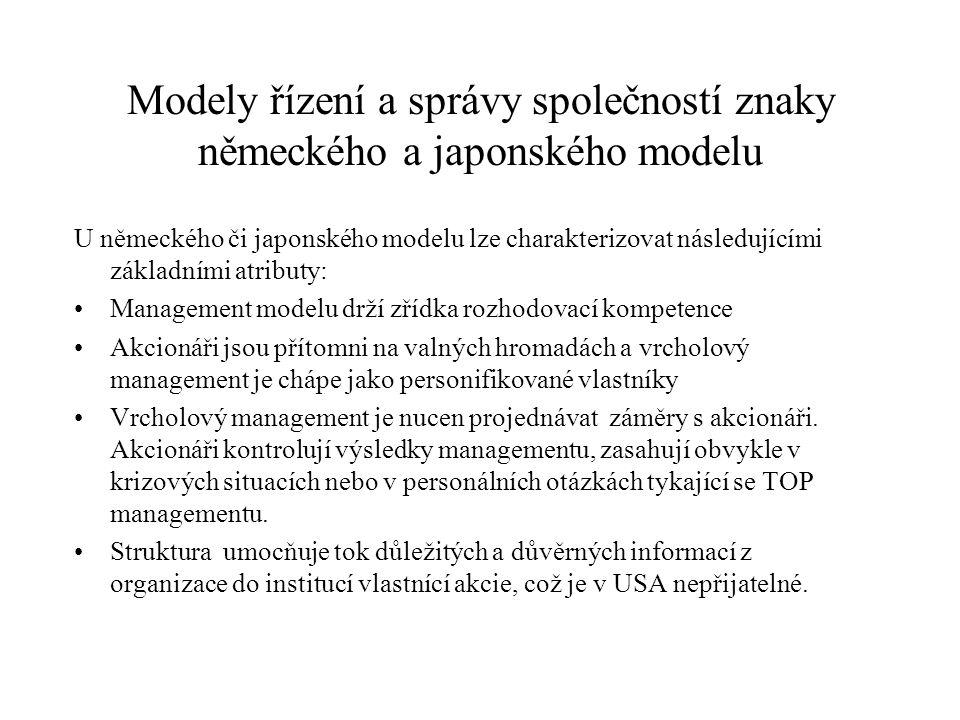 Modely řízení a správy společností znaky německého a japonského modelu