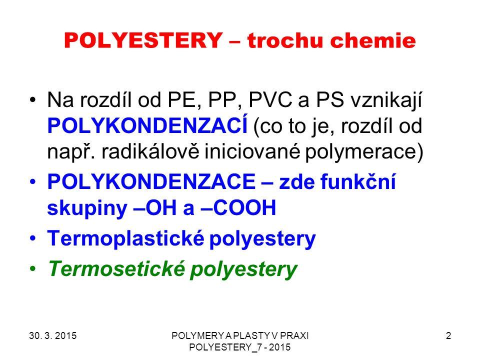POLYESTERY – trochu chemie