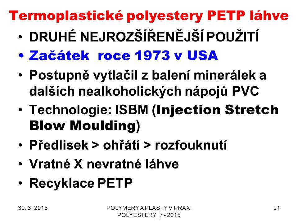 Termoplastické polyestery PETP láhve