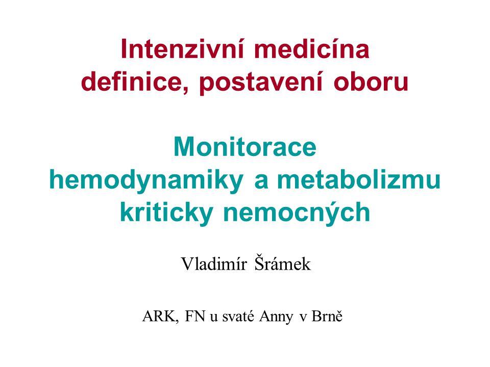 Intenzivní medicína definice, postavení oboru Monitorace hemodynamiky a metabolizmu kriticky nemocných