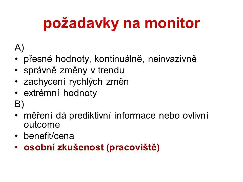 požadavky na monitor A) přesné hodnoty, kontinuálně, neinvazivně