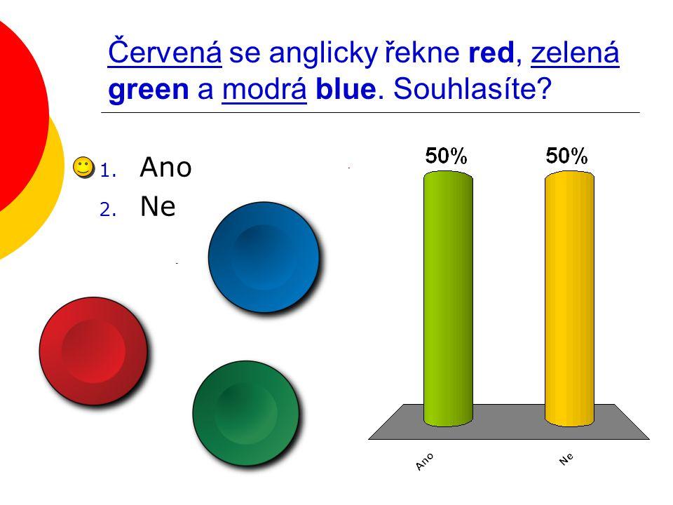 Červená se anglicky řekne red, zelená green a modrá blue. Souhlasíte