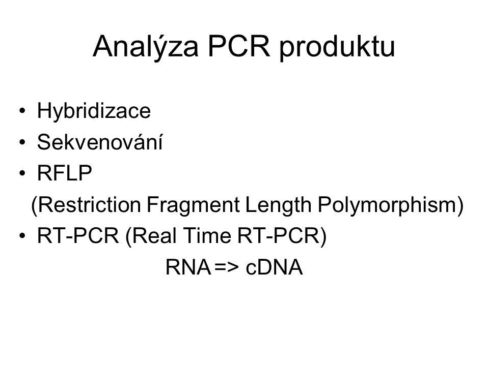 Analýza PCR produktu Hybridizace Sekvenování RFLP
