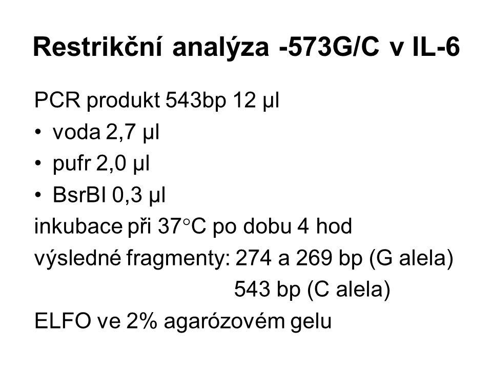 Restrikční analýza -573G/C v IL-6