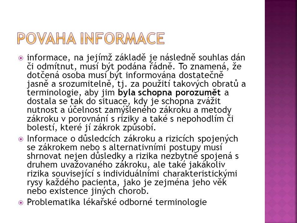 Povaha informace