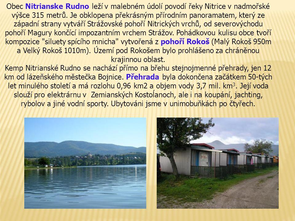 Obec Nitrianske Rudno leží v malebném údolí povodí řeky Nitrice v nadmořské výšce 315 metrů.